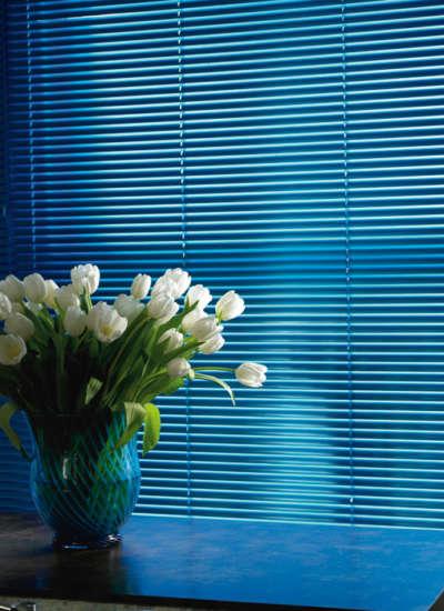 Blue venetian blind